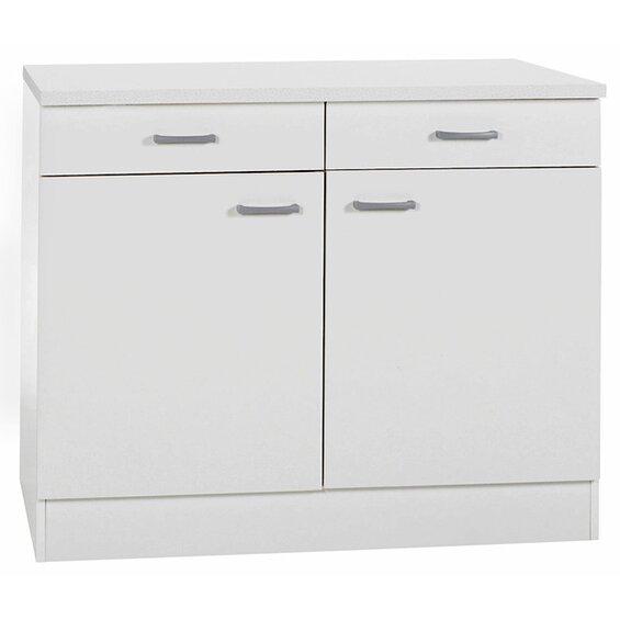 Optifit Unterschrank Klassik 60 Weiß 100 cm mit Arbeitsplatte