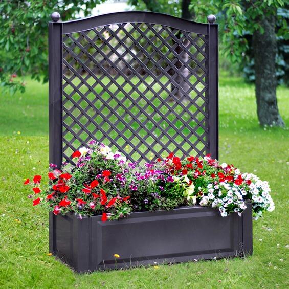 khw pflanzkasten gro mit spalier anthrazit im obi online shop. Black Bedroom Furniture Sets. Home Design Ideas