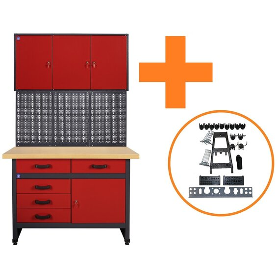 lux werkbank spar set 120 cm inkl 30 tlg haken set. Black Bedroom Furniture Sets. Home Design Ideas