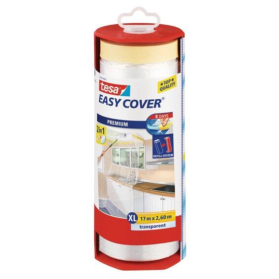 Tesa Easy Cover Premium Abdeckfolie mit Malerband 17 m x 2,6 m