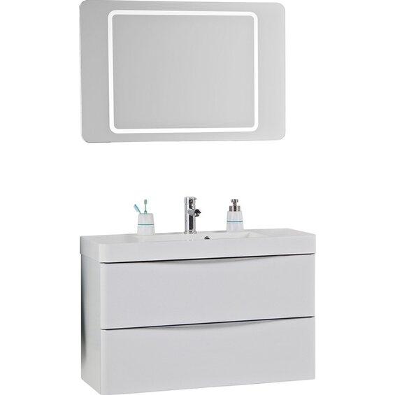 scanbad badm bel set 100 cm mit spiegelpaneel samba wei hochglanz 3 teilig baumarkt xxl. Black Bedroom Furniture Sets. Home Design Ideas