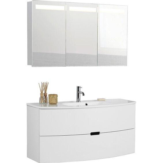 scanbad badm bel set 120 cm mit spiegelschrank 3 t rig modern wei hochglanz baumarkt xxl. Black Bedroom Furniture Sets. Home Design Ideas