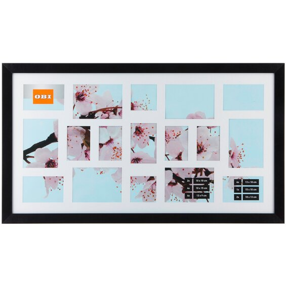 obi multi bilderrahmen f r 17 bilder schwarz im obi online shop. Black Bedroom Furniture Sets. Home Design Ideas
