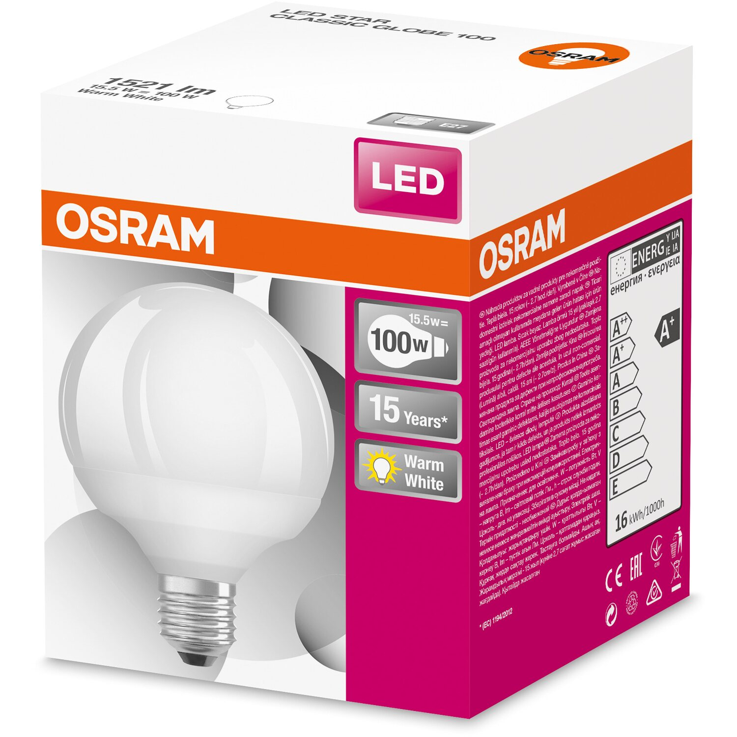 osram led lampe globeform e27 16 w lm warmwei eek a kaufen bei obi. Black Bedroom Furniture Sets. Home Design Ideas