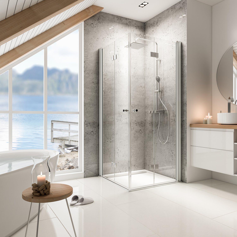schulte drehfaltt r eckeinstieg garant alunatur echtglas 100 x 100 x 200 cm kaufen bei obi. Black Bedroom Furniture Sets. Home Design Ideas