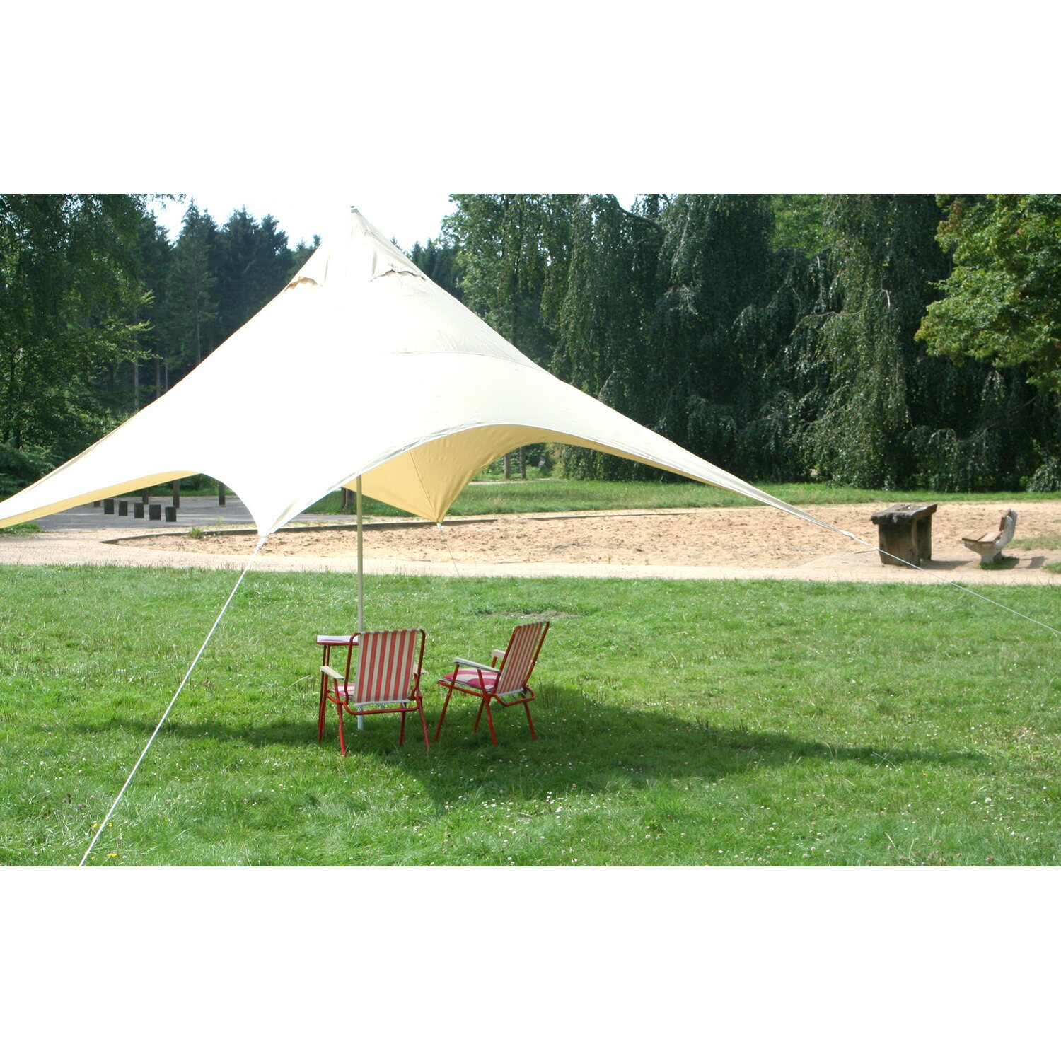floracord camping pyramiden sonnensegel sand 400 cm x 400. Black Bedroom Furniture Sets. Home Design Ideas