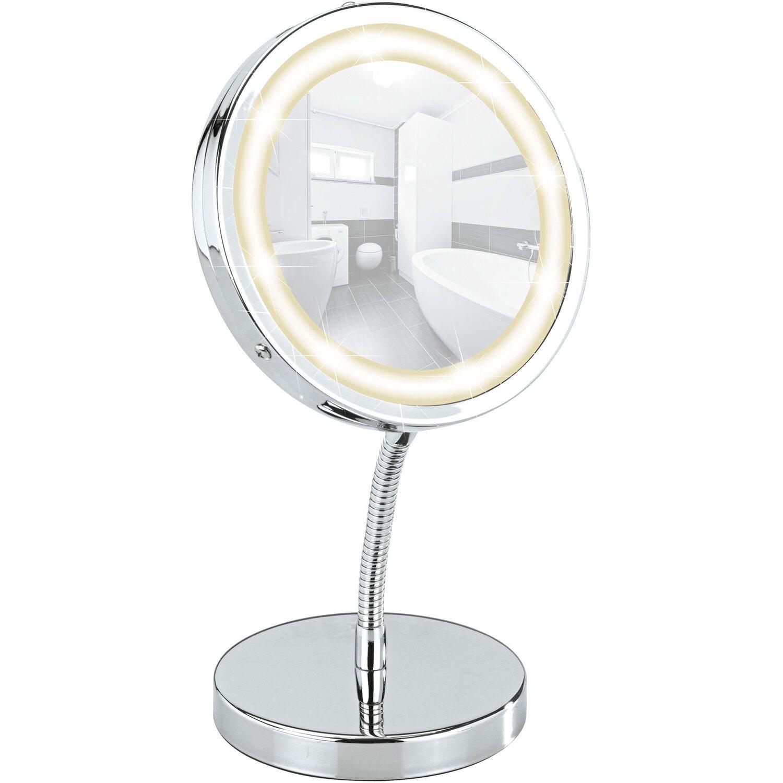 Wenko LED Kosmetik-Standspiegel Brolo 3-fache Vergrößerung | Bad > Bad-Accessoires > Kosmetikspiegel | Chrom | Glas | Wenko
