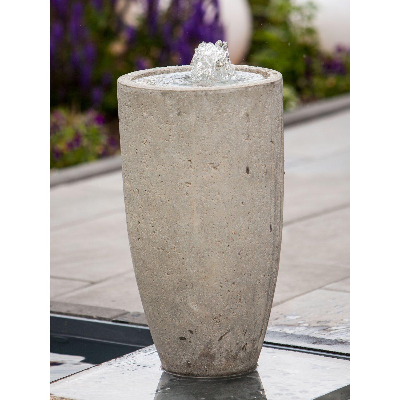 Heissner terrassenbrunnen komplett set vase grey led for Miniteich komplettset