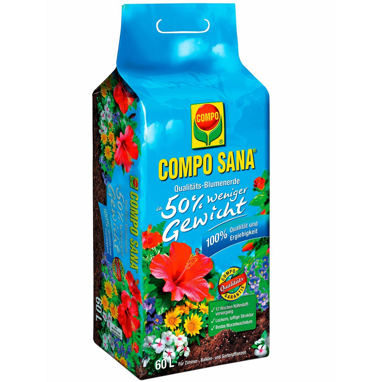 Compo Qualitäts-Blumenerde ca. 50 Prozent weniger Gewicht 1 x 60 l