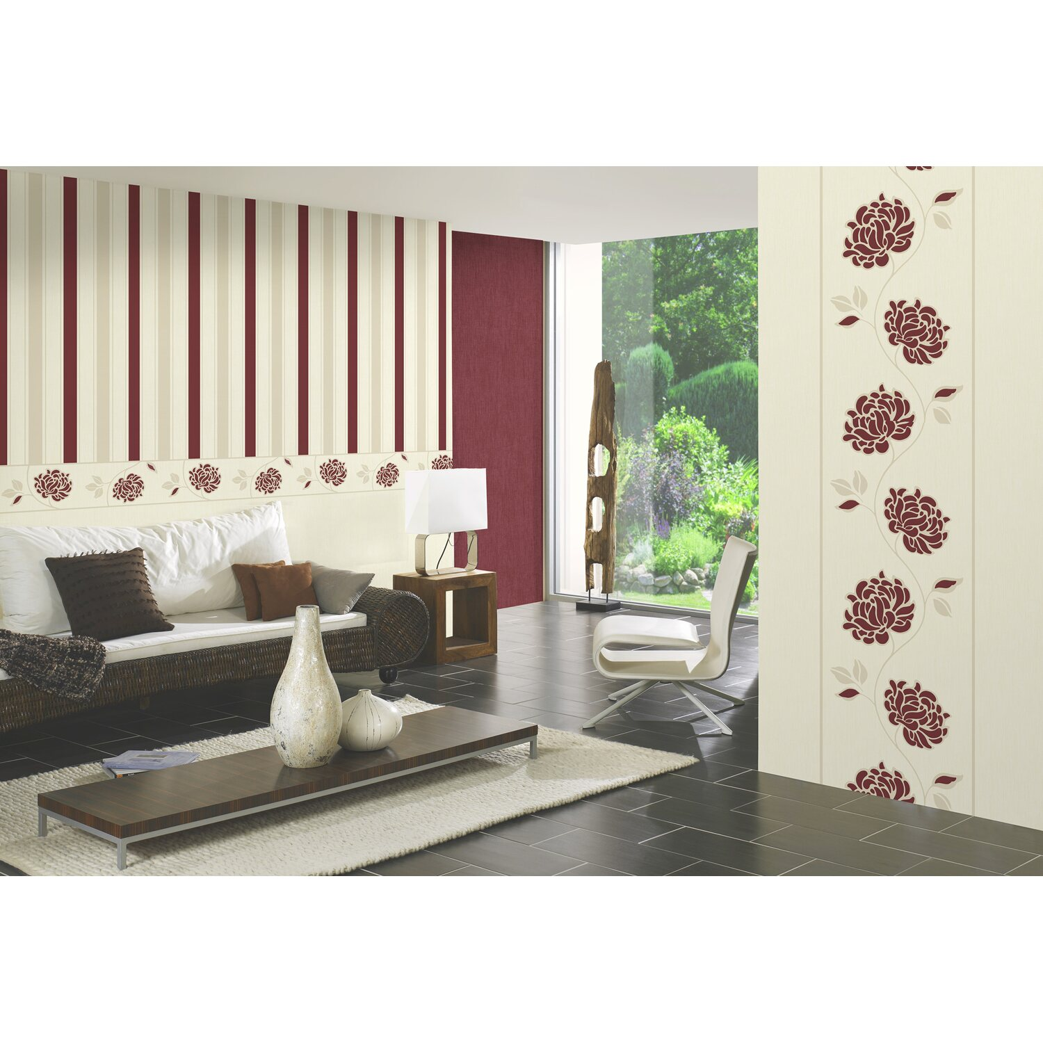 brigitte home vliestapete blumenranke rot kaufen bei obi. Black Bedroom Furniture Sets. Home Design Ideas