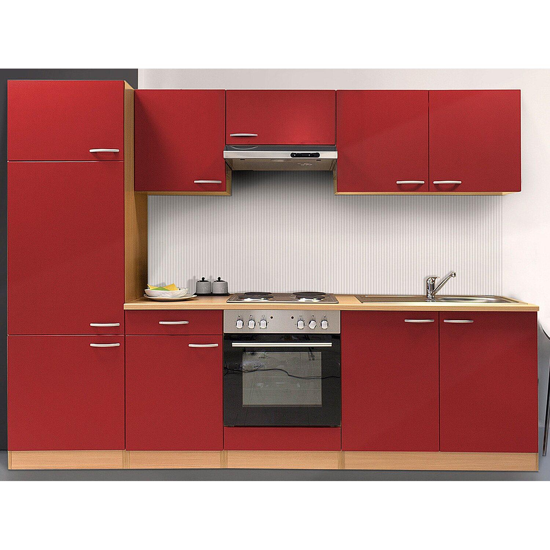 Respekta Küchenzeile KB270BRE 270 cm Rot-Buche Nachbildung