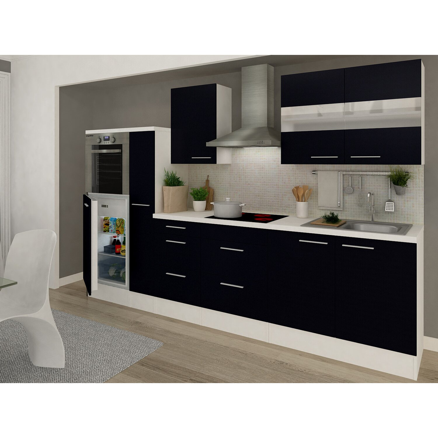 respekta premium k chenzeile rp300hws 300 cm schwarz wei kaufen bei obi. Black Bedroom Furniture Sets. Home Design Ideas