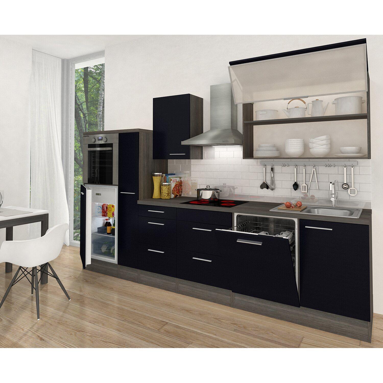 respekta premium k chenzeile rp310hes 310 cm schwarz eiche grau nachbildung kaufen bei obi. Black Bedroom Furniture Sets. Home Design Ideas