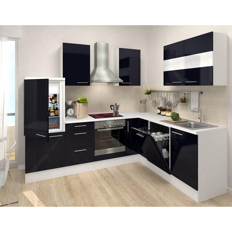 Winkel Küche respekta premium winkelküche rp260wscos 260 x 200 cm schwarz weiß