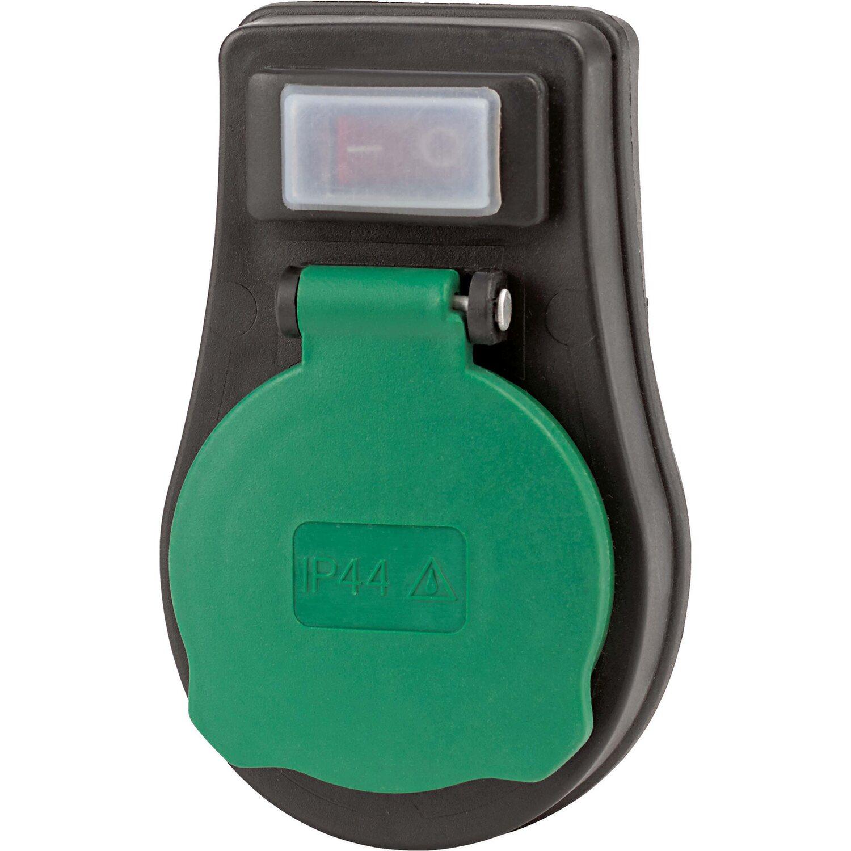 Schutzkontakt-Adapter-Stecker mit Deckel und Schalter
