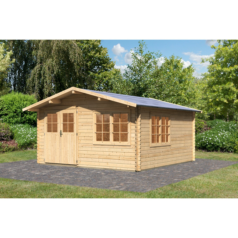 karibu holz gartenhaus rogaland 2 natur mit vordach b x t 400 cm x 400 cm kaufen bei obi. Black Bedroom Furniture Sets. Home Design Ideas