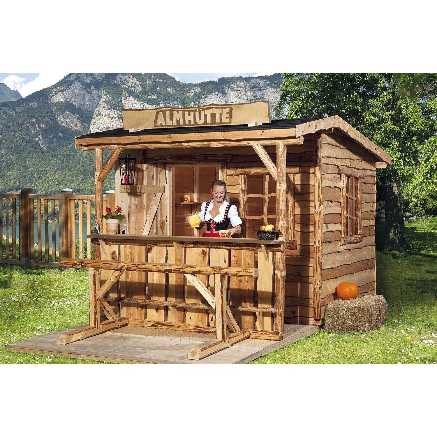 weka holz gartenhaus nature 3 gr e 1 240 cm x 280 cm mit sitzgel und tresen kaufen bei obi. Black Bedroom Furniture Sets. Home Design Ideas