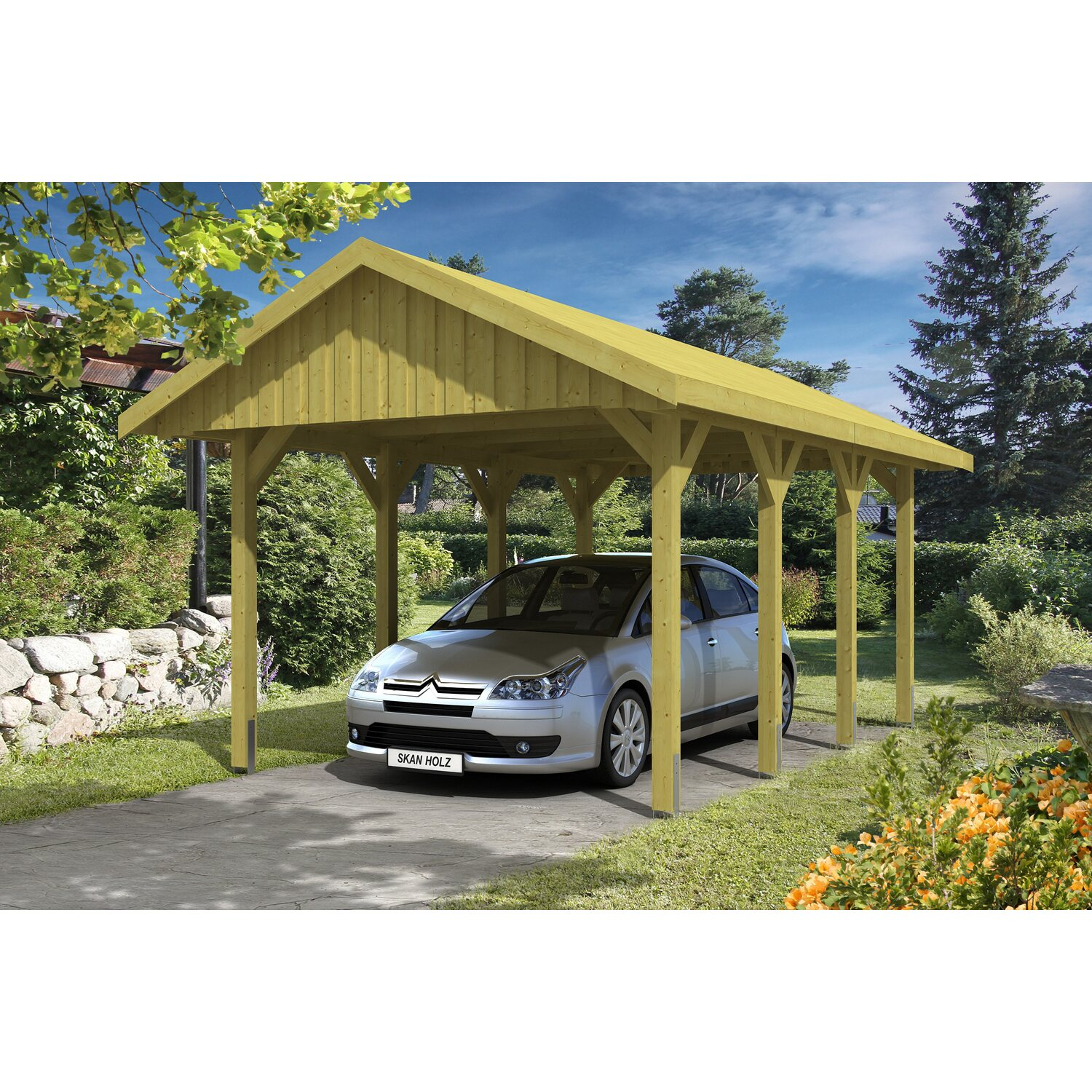 skan holz satteldach carport sauerland 380 cm x 600 cm. Black Bedroom Furniture Sets. Home Design Ideas