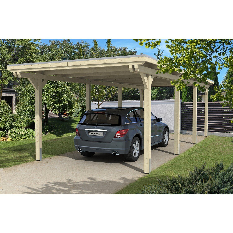 Skan Holz Flachdach-Einzelcarport Emsland 354 cm x 846 cm | Baumarkt > Garagen und Carports | Skan Holz