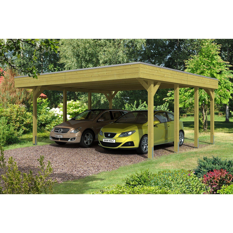 Skan Holz Flachdach-Doppelcarport Friesland 557 cm x 555 cm | Baumarkt > Garagen und Carports | Skan Holz