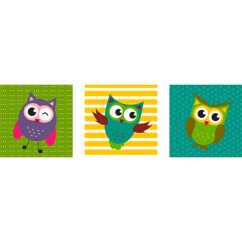 Eurographics  Wandtattoo 3er-Set Funny Owls