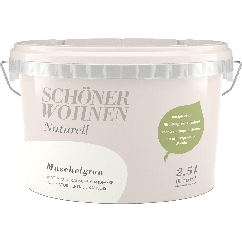 Schoner Wohnen Wandfarbe Naturell Muschelgrau Matt 2 5 L Kaufen