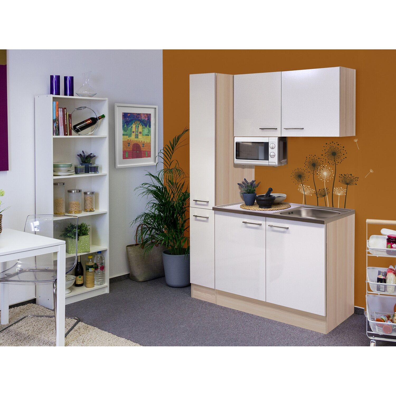 Flex-Well Singleküche/Miniküche 130 cm Abaco Perlmutt glänzend-Akazie   Küche und Esszimmer > Küchen > Miniküchen   Flex-Well Exclusiv
