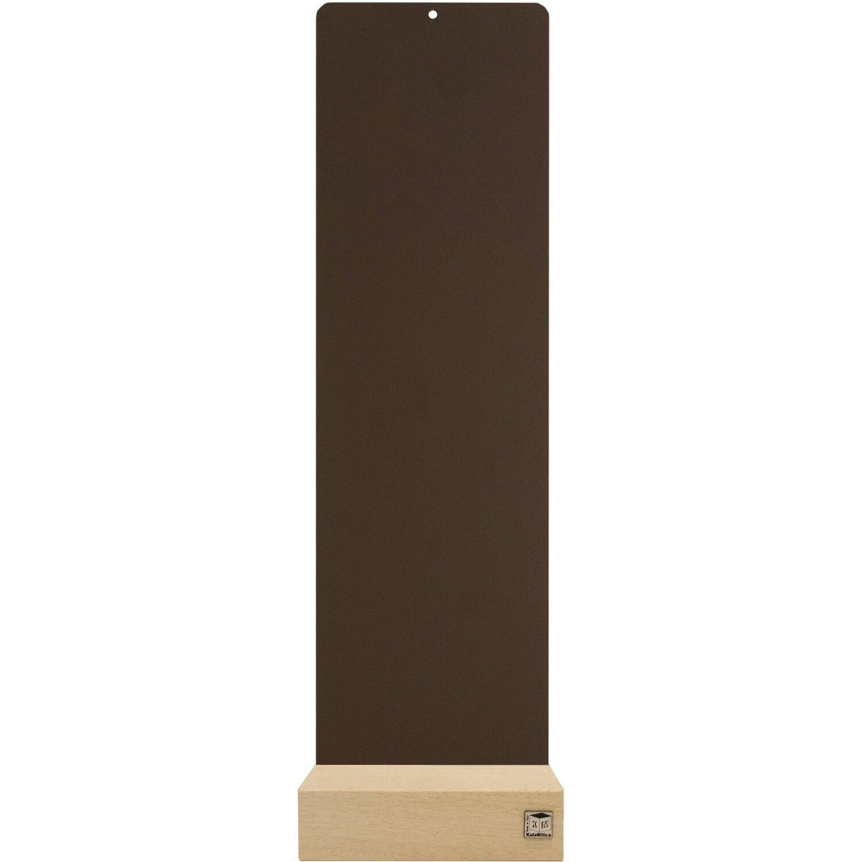KalaMitica Metallplatte 14 cm x 50 cm Braun mit Holzsockel