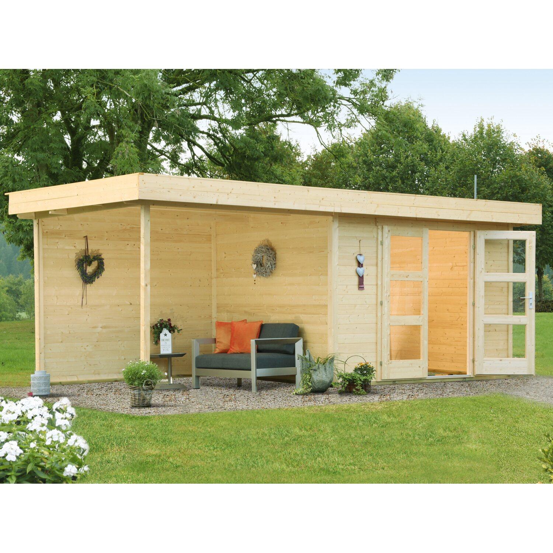 Wolff Finnhaus Holz Gartenhaus Calais mit Anbau & Rückwand B x T