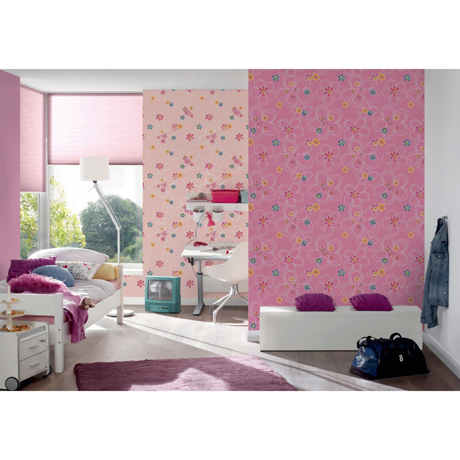 a s creation papiertapete boys girls 5 blumen rosa. Black Bedroom Furniture Sets. Home Design Ideas