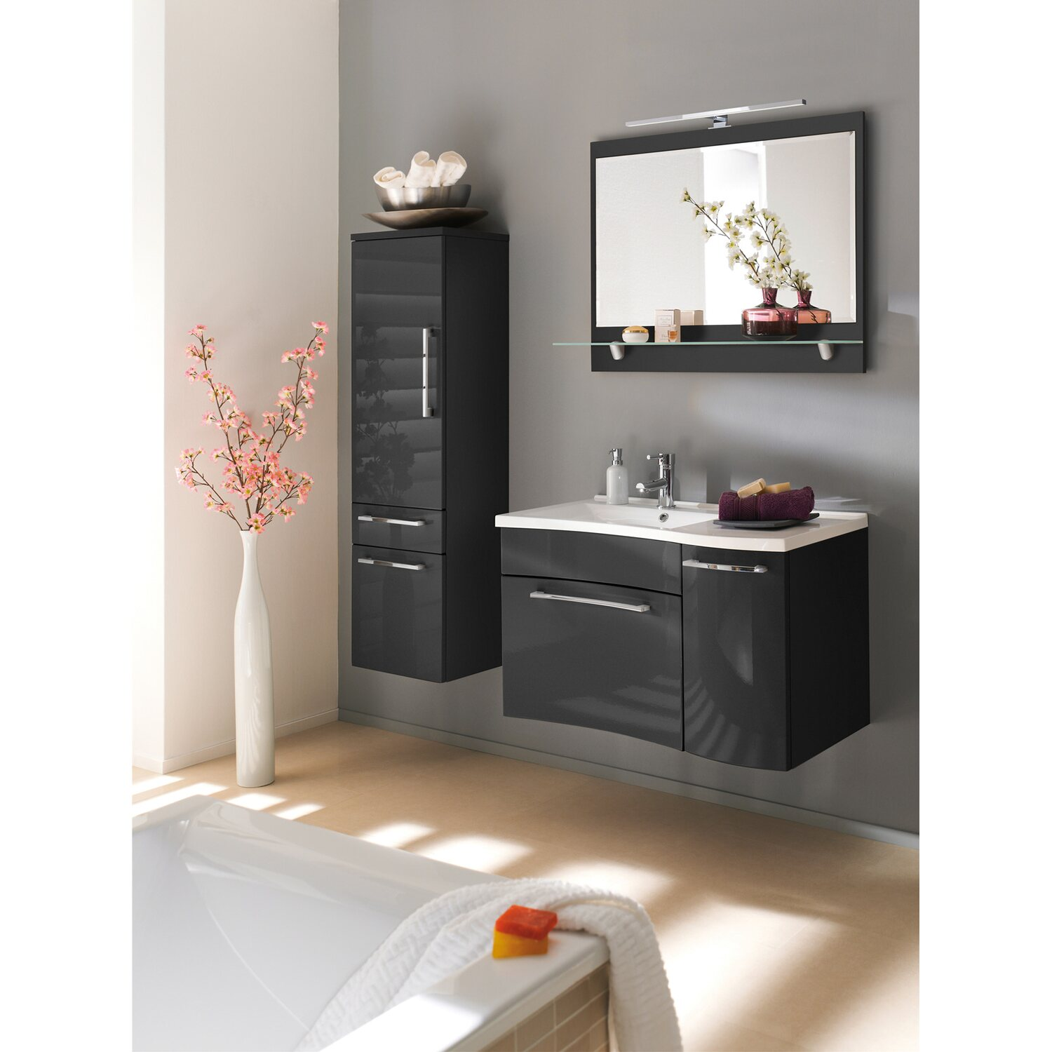 posseik hochschrank 40 cm laonda anthrazit kaufen bei obi. Black Bedroom Furniture Sets. Home Design Ideas