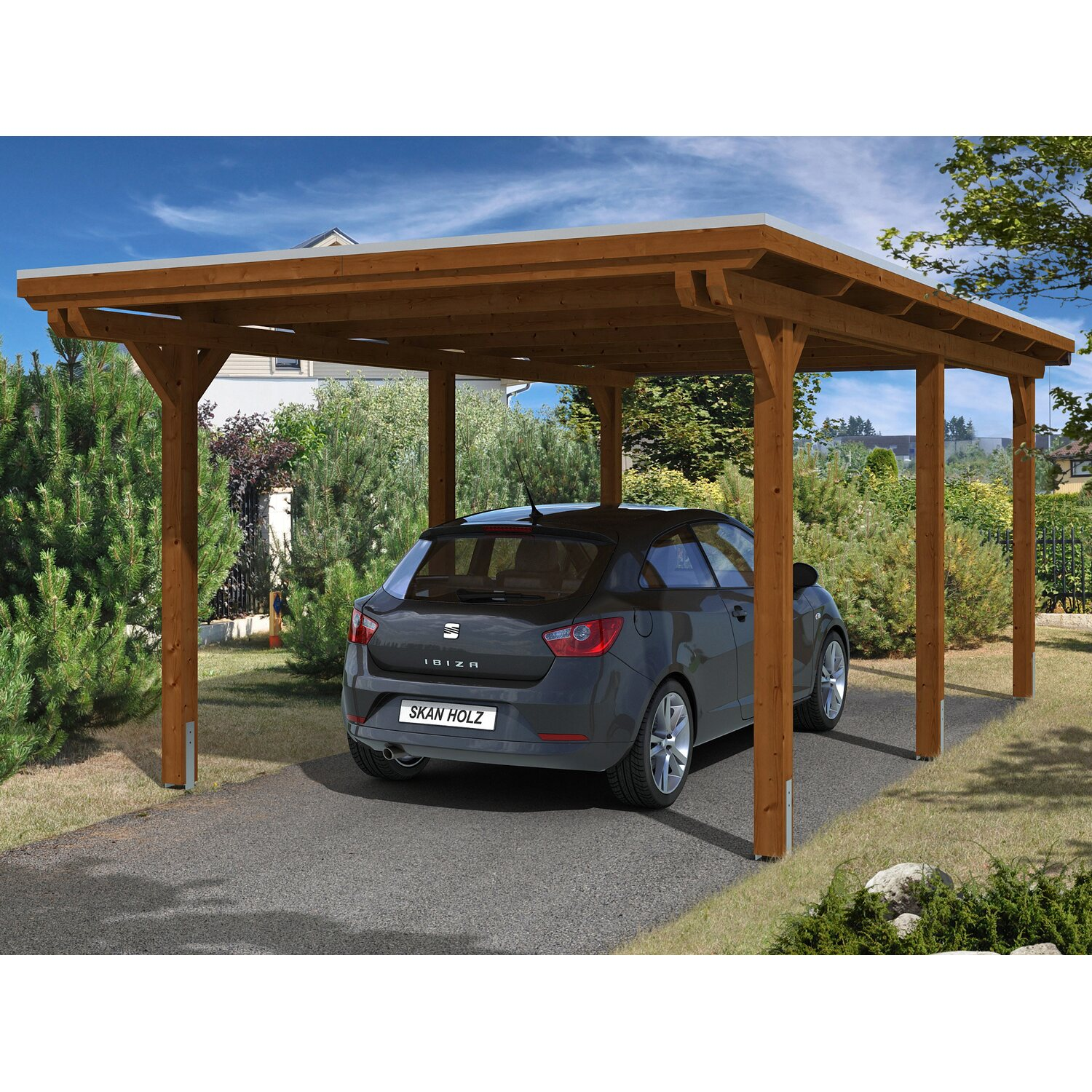 skan holz carport emsland 354 cm x 604 cm nussbaum kaufen bei obi. Black Bedroom Furniture Sets. Home Design Ideas