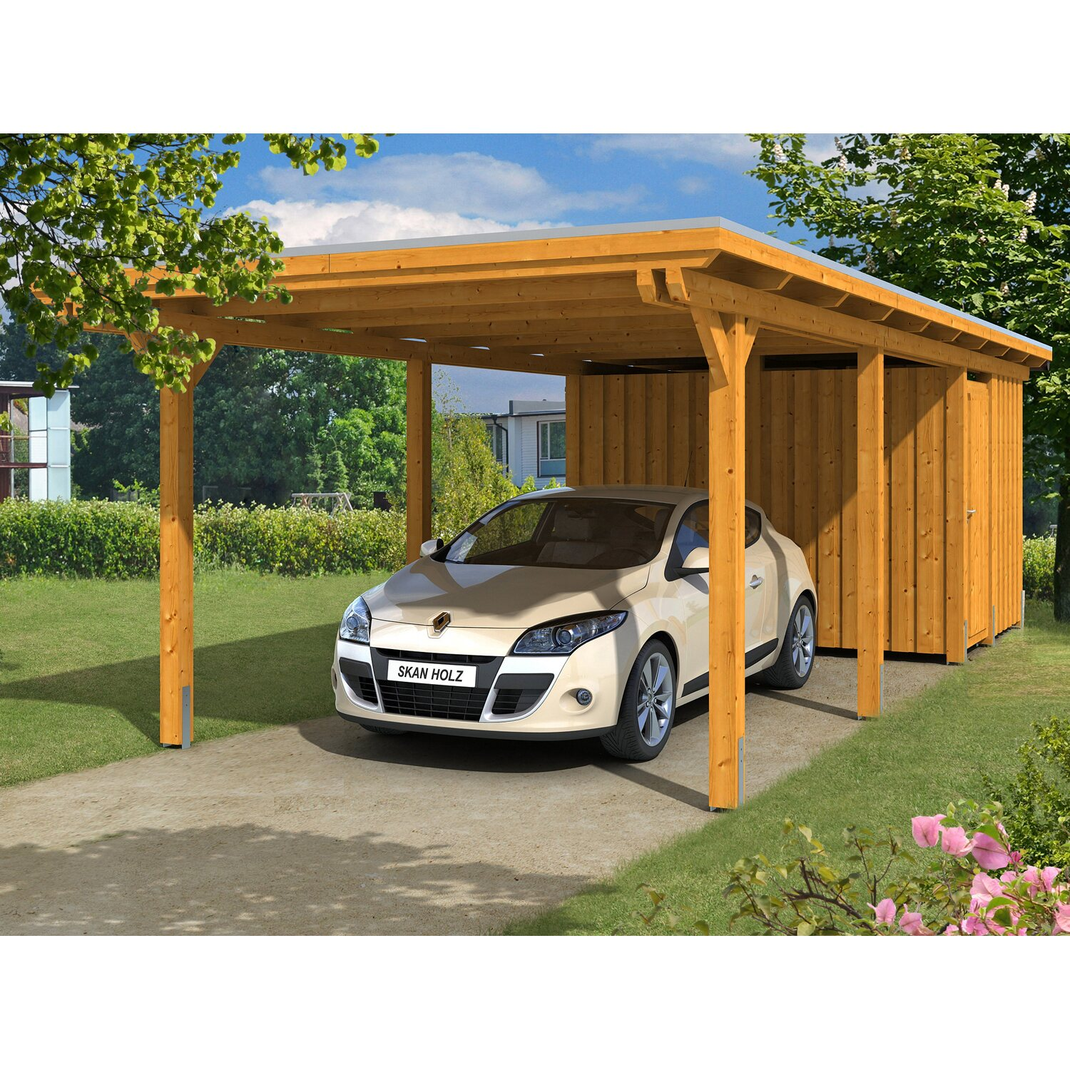skan holz carport emsland 354 cm x 846 cm mit abstellraum eiche hell kaufen bei obi. Black Bedroom Furniture Sets. Home Design Ideas
