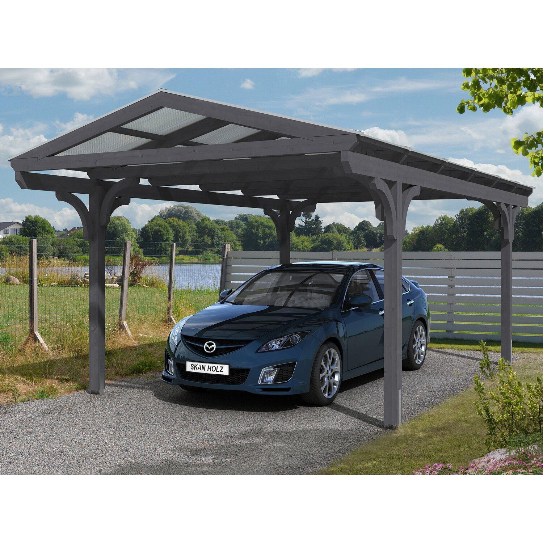 Skan Holz Carport Westerwald 362 cm x 648 cm runde Kopfbänder Schiefergrau | Baumarkt > Garagen und Carports > Carports | Skan Holz