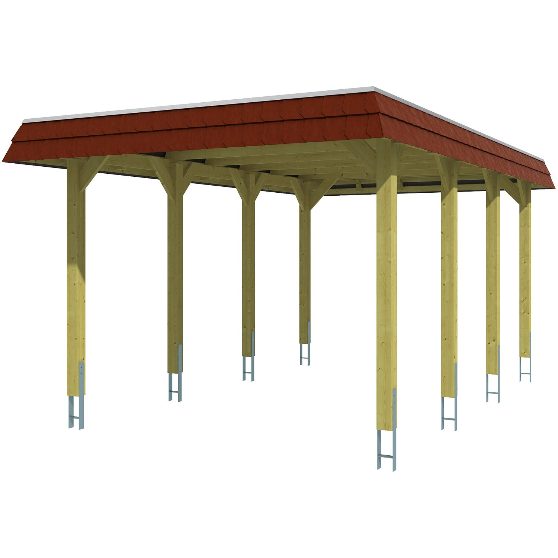 Skan Holz Carport Spreewald 345 Cm X 589 Cm Rote Blende Kaufen Bei Obi