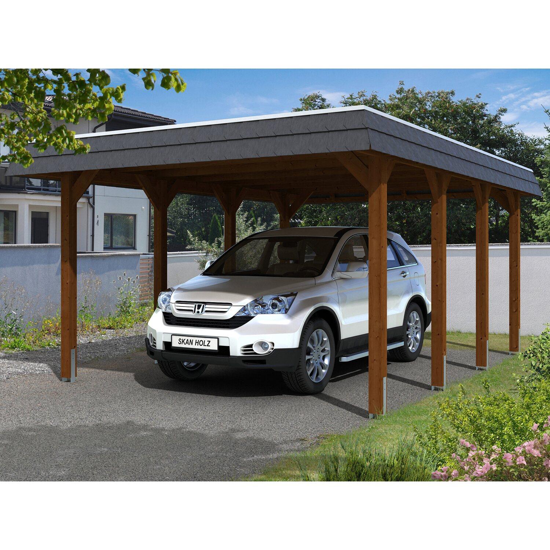 Skan Holz Carport Spreewald 396 cm x 589 cm schwarze Blende Nussbaum | Baumarkt > Garagen und Carports > Carports | Braun | Holz | Skan Holz