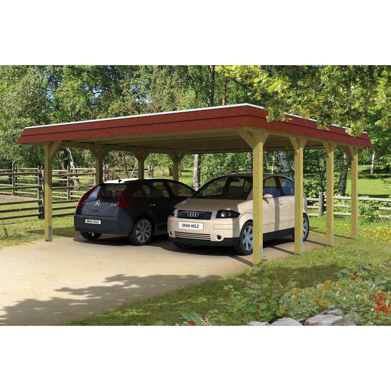 Skan Holz Carport Spreewald 585 cm x 589 cm rote Blende | Baumarkt > Garagen und Carports > Carports | Grün | Holz | Skan Holz