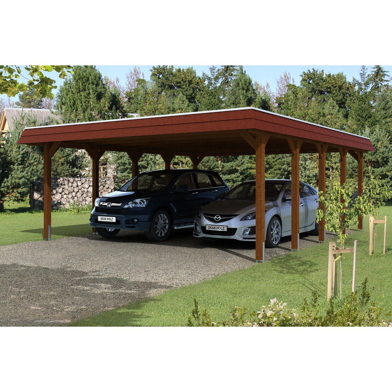Skan Holz Carport Spreewald 585 cm x 741 cm rote Blende Nussbaum | Baumarkt > Garagen und Carports > Carports | Skan Holz