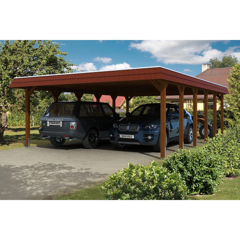 Skan Holz Carport Spreewald 585 cm x 893 cm rote Blende Nussbaum | Baumarkt > Garagen und Carports | Skan Holz