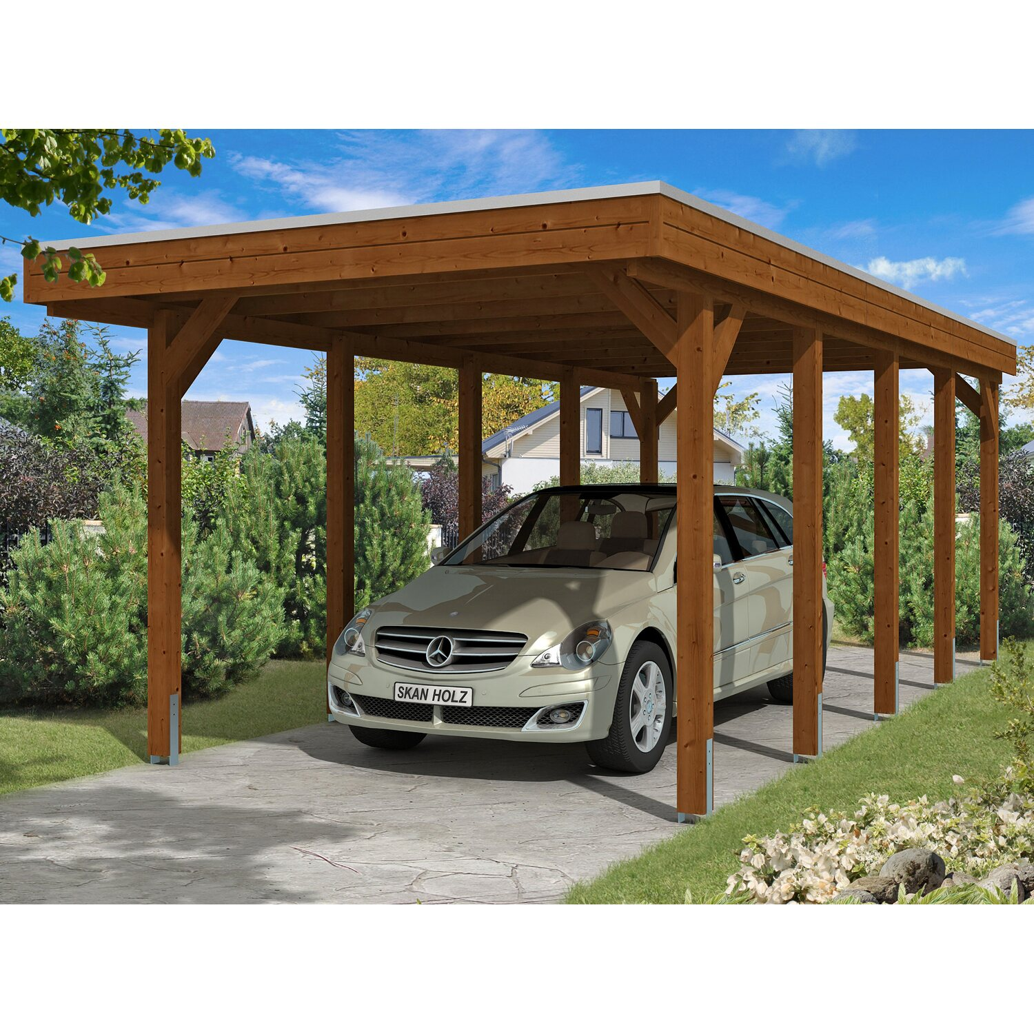 skan holz carport friesland 314 cm x 708 cm nussbaum kaufen bei obi. Black Bedroom Furniture Sets. Home Design Ideas