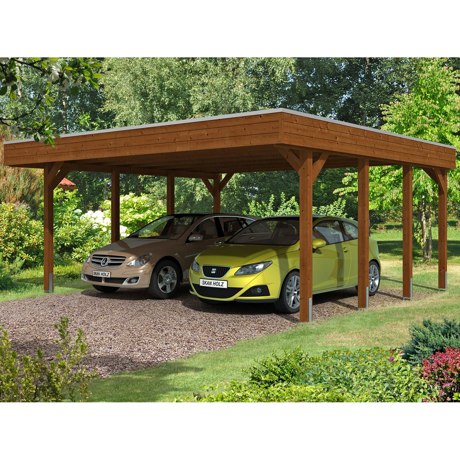 skan holz carport friesland 557 cm x 555 cm nussbaum. Black Bedroom Furniture Sets. Home Design Ideas