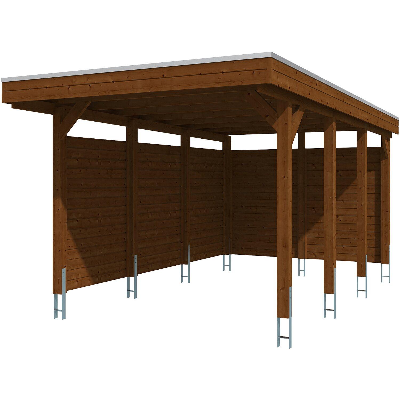 Skan Holz Carport Friesland Set 1 314 Cm X 555 Cm Nussbaum Kaufen Bei Obi