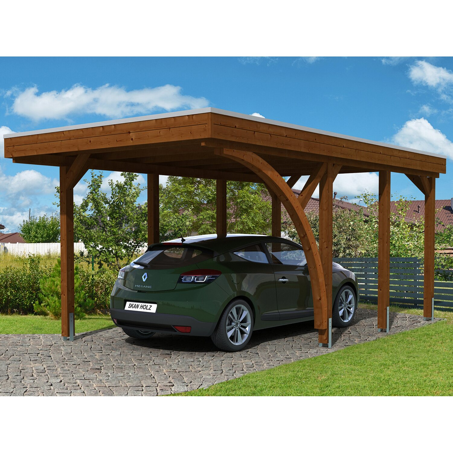 skan holz carport friesland set 5 314 cm x 555 cm nussbaum kaufen bei obi. Black Bedroom Furniture Sets. Home Design Ideas