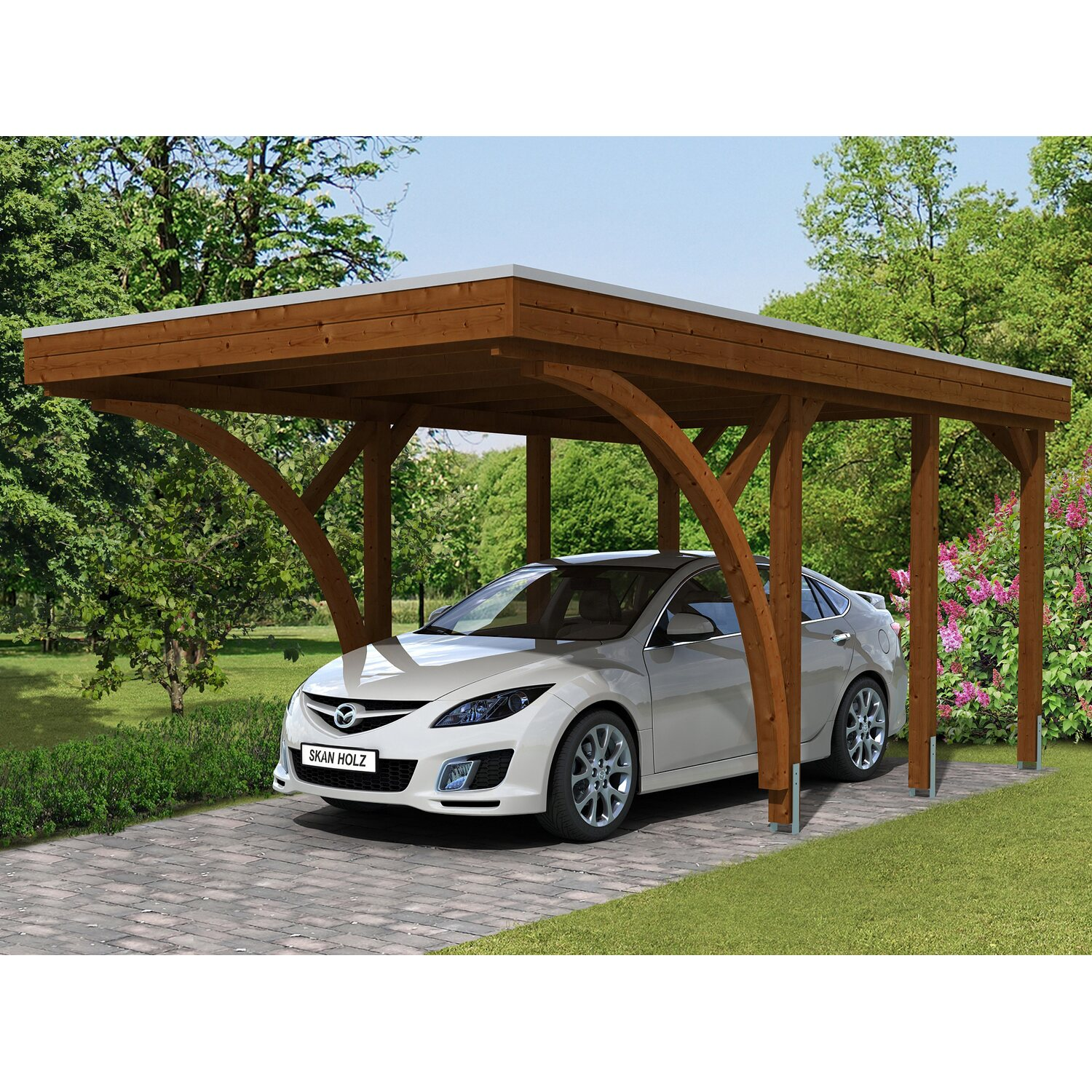 skan holz carport friesland set 6 314 cm x 555 cm nussbaum kaufen bei obi. Black Bedroom Furniture Sets. Home Design Ideas