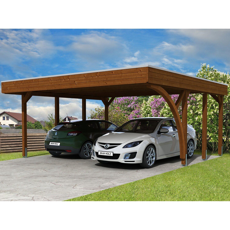 Carport Holz Oberosterreich Denvirdevinfo: Skan Holz Carport Friesland Set 7 557 Cm X 555 Cm Nussbaum