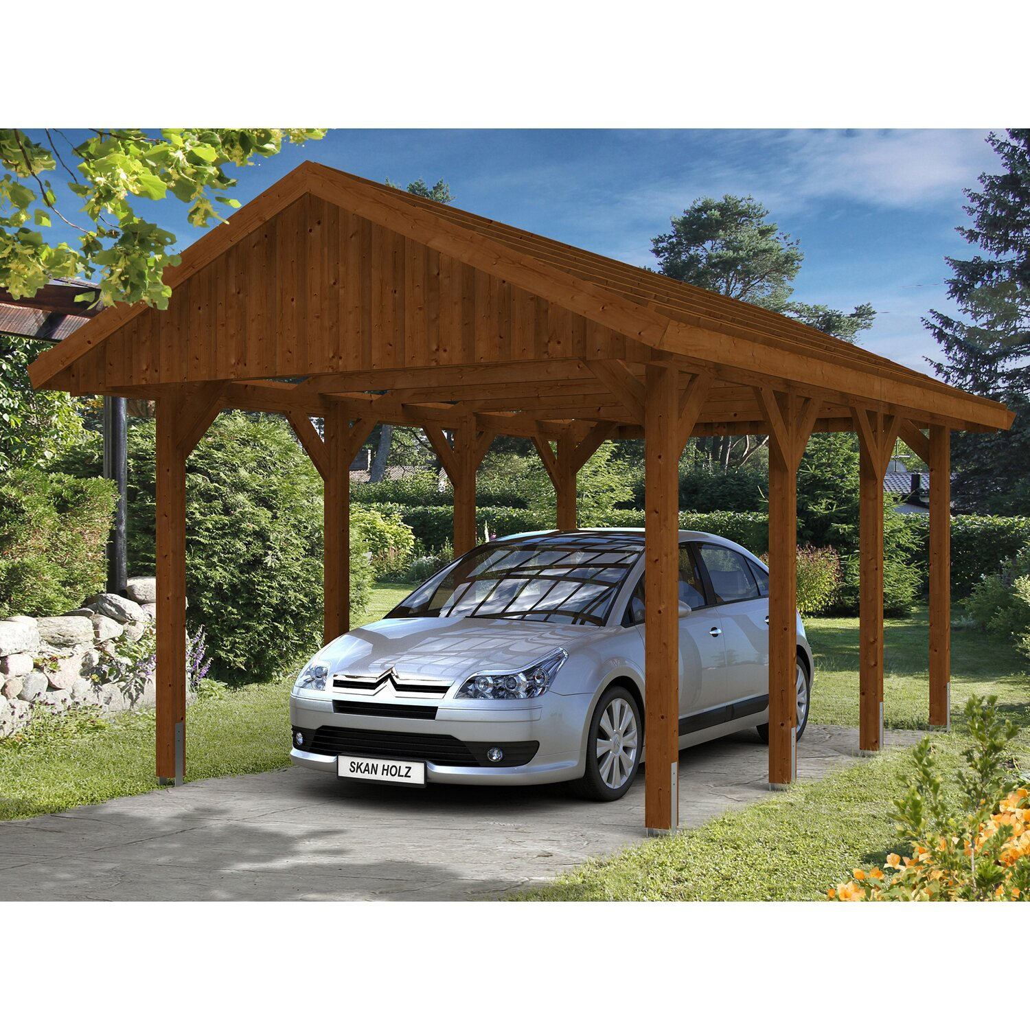 skan holz satteldach carport sauerland 380 cm x 600 cm nussbaum kaufen bei obi. Black Bedroom Furniture Sets. Home Design Ideas