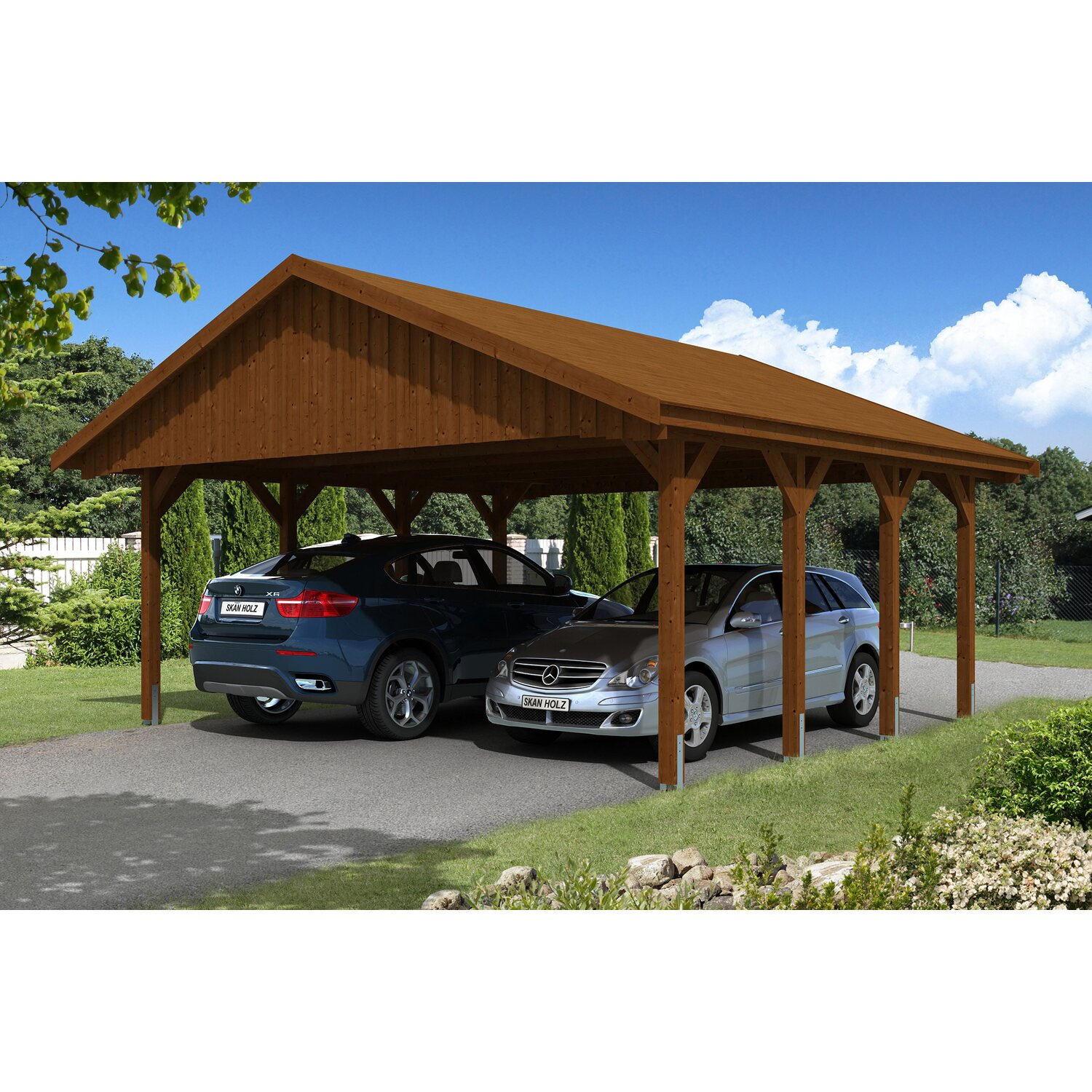skan holz satteldach carport sauerland 620 cm x 600 cm nussbaum kaufen bei obi. Black Bedroom Furniture Sets. Home Design Ideas