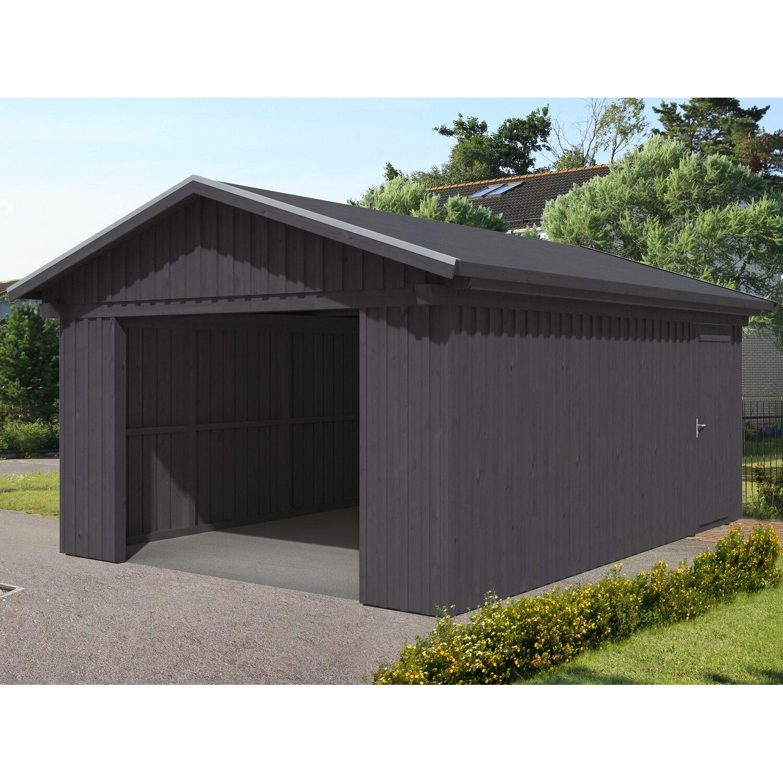Skan Holz Holzgarage Falun 393 cm x 549 cm mit Schalung Grau   Baumarkt > Garagen und Carports > Garagen   Skan Holz