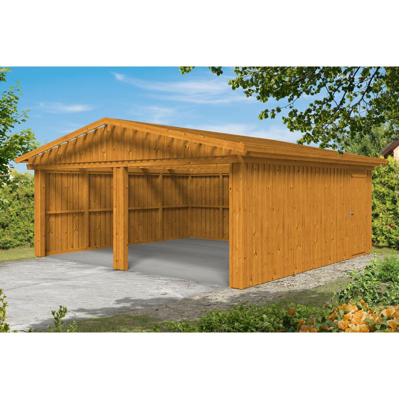 Skan Holz Holzgarage Falun 579 cm x 549 cm mit Lattung Eiche hell | Baumarkt > Garagen und Carports > Garagen | Holz | Skan Holz