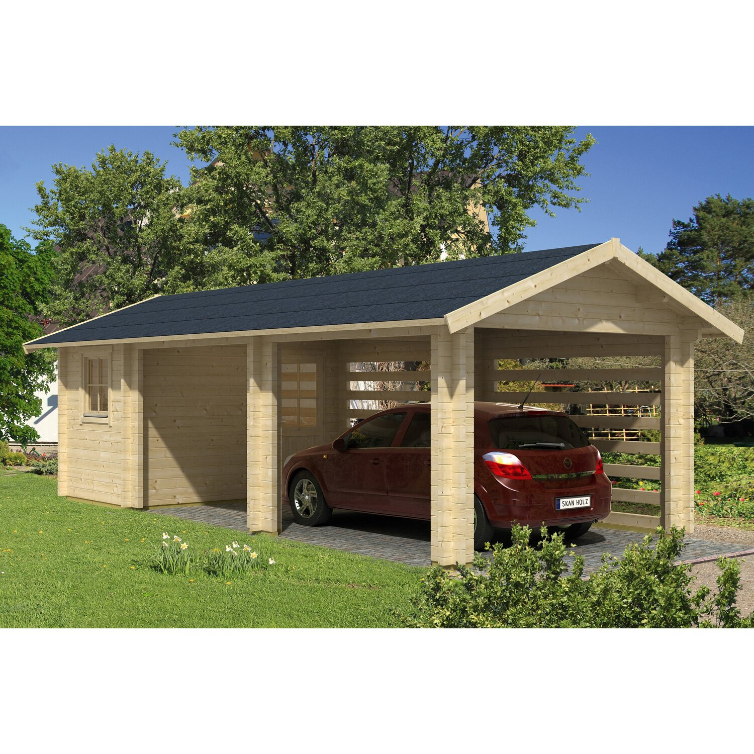 skan holz blockbohlen carport stockholm 340 cm x 800 cm natur kaufen bei obi. Black Bedroom Furniture Sets. Home Design Ideas